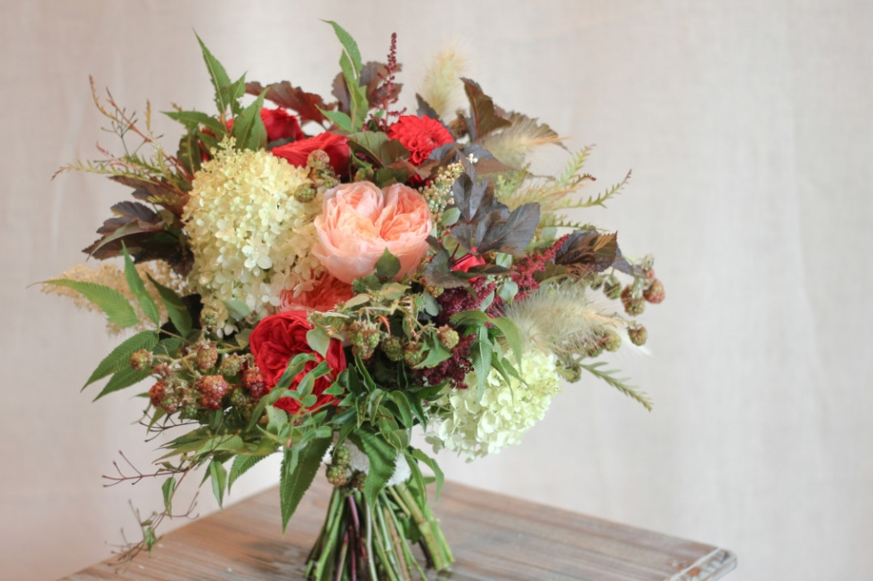 Summer wedding bouquet designed by Frontier Flowers of Fontana