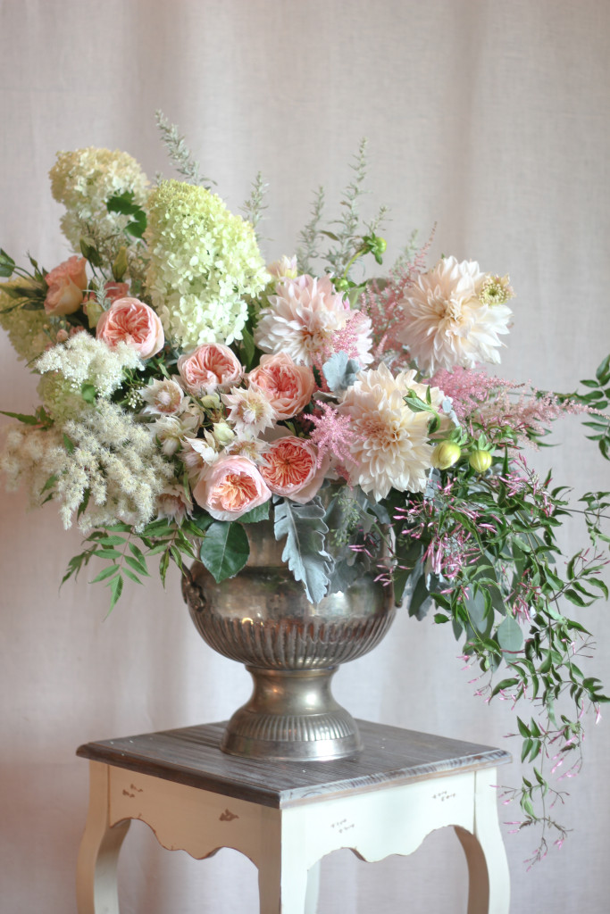 dahlias, hydrangea, serruria, jasmine vine, and garden roses designed by Frontier Flowers of Fontana